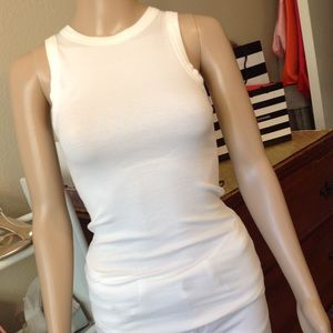 All white ribbed sleeveless top